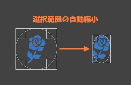 楕円選択の自動縮小では対象が選択範囲内に収まらないこともある