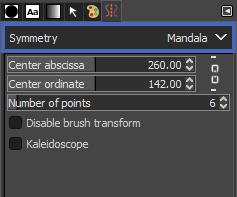 Symmetryのドロップダウンから Mandala を選択