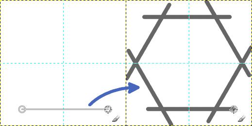 直線を引くと多角形が描かれる