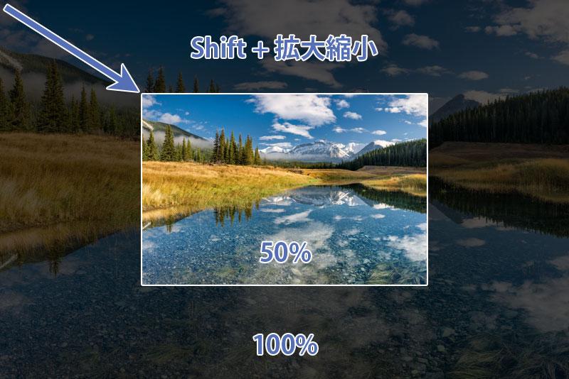 Shift + 拡大縮小