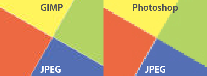 GIMPとPhotoshopのJPEG画質比較